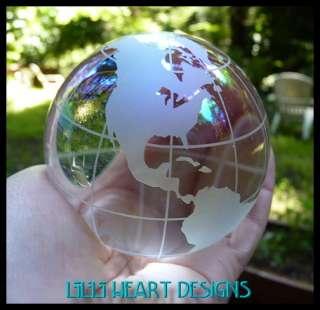 HIGH QUALITY LEAD CRYSTAL WORLD GLOBE 80mm AB