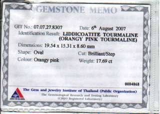THE CERTIFIED UNHEATED ORANGY PINK TOURMALINE 17.69 CT