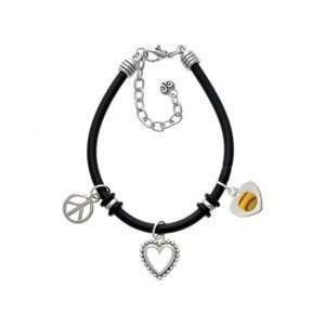 Softball in Heart Black Peace Love Charm Bracelet [Jewelry