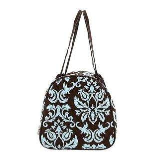 Duffle Bag Quilted Brown and Blue Damask Print Large 21 inches  Belvah
