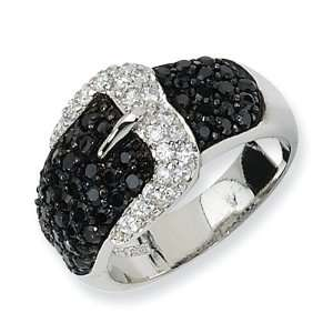 Sterling Silver Polished Black/White CZ Belt Ring   Size 6