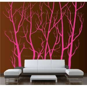 Wall Art Decor Removable Large Hot Pink Vinyl Tree Forest Sticker