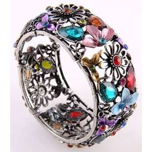 Fashion Jewelry Antique Mixed Acrylic Jewelry Flower Cuff
