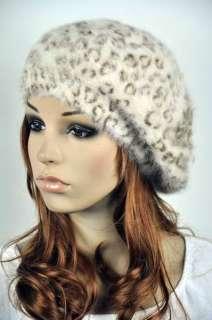 Sexy Leopard Warm Rabbit Fur Lady Womens Witer Beret Hat Beanie Ski