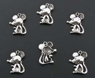 30 Tibetan Silver Animal Mouse Charms Pendants B269