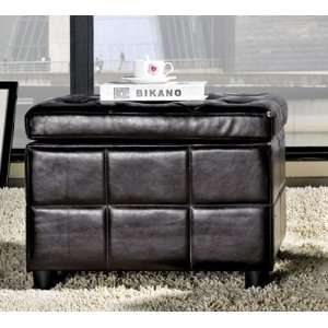 Leather Small Storage Ottoman   Espresso Dark Brown