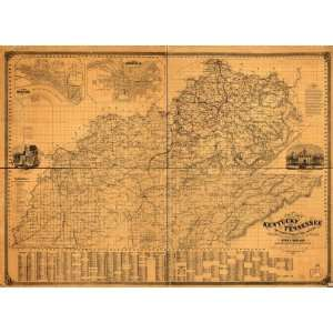 Map New map of Kentucky and Tennessee from authentic reports of county