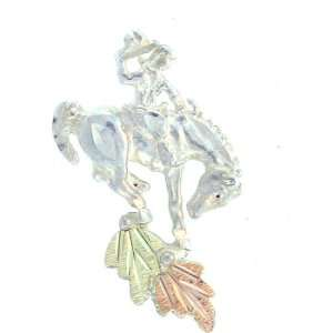 silver Yellow gold Black Hills Gold Bucking Bronco Tie pin: Jewelry
