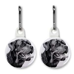 Rottweiler DOG Pencil Sketch Art Pair of 1 inch Button Style Zipper