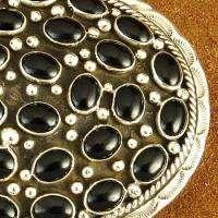 Native American Navajo Sterling Silver Black Onyx Cluster Belt Buckle