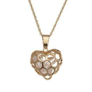 Wo Ai Ni Gold Plated Crystal Heart Necklace