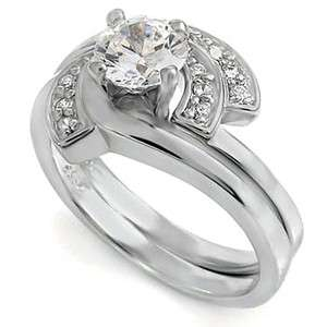 ENGAGEMENT 6mm CZ STERLING Silver Wrap Cubic Zirconia Wedding Ring Set
