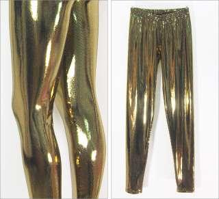 Gold Black Silver Shiny Glam Fashion Leggings Pants S