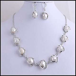 Wholesale 4sets Natural Pearls Zircon Necklace Earrings NE01(4)