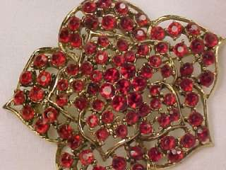 Ruby Red Rhinestone Flower Filagree Pin Sparkling Goldtone Vintage