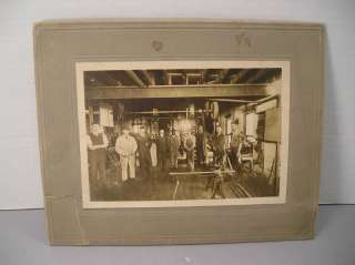 Tool Room Men Working Photo Overhead Belt Drive Vintage Old