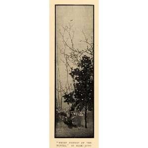 1911 Print Three Friends Winter Tree Branches Flowers