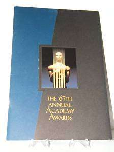 67th ACADEMY AWARDS Program OSCARS Tom Hanks David Letterman 1995
