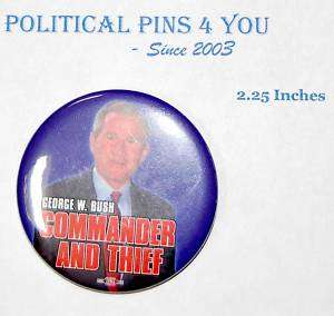 anti GEORGE W. BUSH Pinback Button Campaign 2004 KERRY
