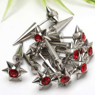 Red Crystal Star Stainless Steel Spike Earring 10P