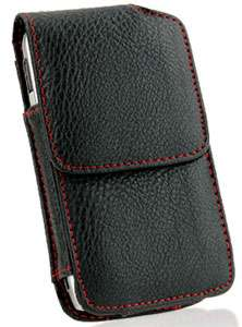 Iphone 4S New Vertical Red Stitched Black Napa Leather Case Swivel