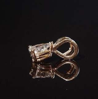 Estate 14K 3/4 Ct .75 Pear Shaped Natural Diamond Pendant