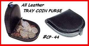 Black All LEATHER TRAY COIN PURSE COIN Wallet