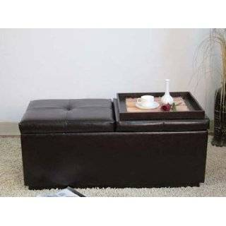 Table Storage Ottoman with Tray and Side Ottomans: Home & Kitchen