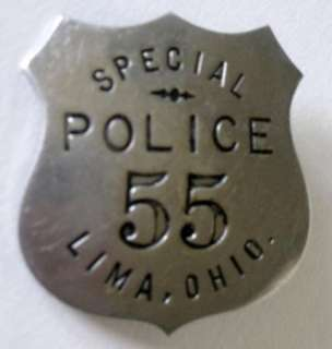 Lima Ohio Special Police Badge Obsolete