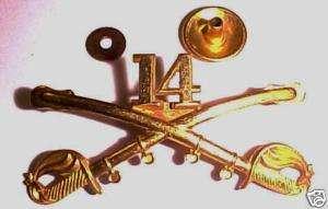 1895   1902 Pattern 14th Cavalry Regt Gilt Insignia Pin