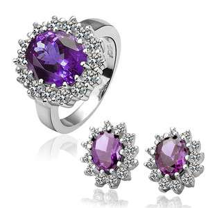 ST34 18K white Gold plated purple gem Swarovski crystal ring earrings