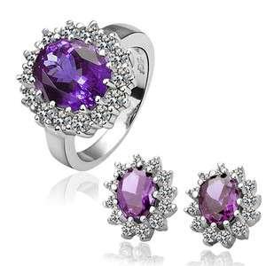 ST34 18K white Gold plated purple gem Swarovski crystal ring earrings