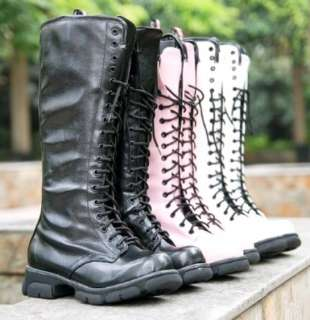 Womens Lace Up Punk Rock Mid Calf Low Heel Military Combat Boots #107