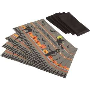 DII Hallow Eve Print Table Linen Set, Black: Home