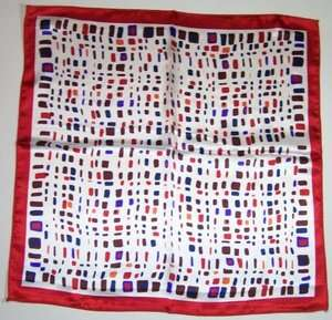 Silky SCARF 20x20 Satin Head Neck WHITE RED BROWN ORANGE BLUE Abstract
