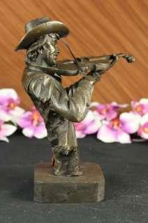Modern Art Female Violin Fidler Player Bronze Marble Sculpture Statue