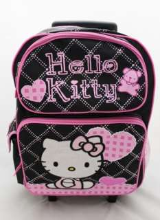 Hello Kitty Black XLarge 16 Rolling Backpack   HEART