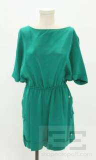 Rag & Bone Green Silk Cargo Short Romper Size 10
