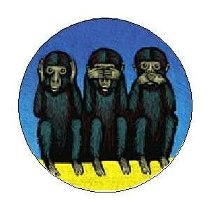 Monkeys  HEAR NO EVIL / SEE NO EVIL / SPEAK NO EVIL  Pinback Button