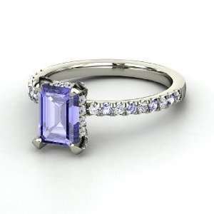 Reese Ring, Emerald Cut Tanzanite 14K White Gold Ring with