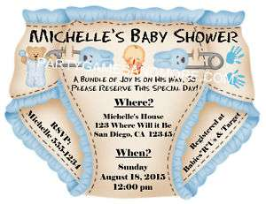 PERSONALIZED BABY SHOWER DIAPER INVITATIONS / THANK YOU