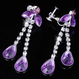 Charm Purple Rhinestone Necklace Earring Jewelry 26972