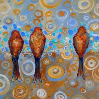 Dana Marie Art ORIGINAL WHIMSICAL MODERN CONTEMPORARY TREE BIRD
