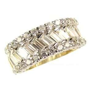 Gold, Fancy Band Ring with Sparkly Round and Baguette Cut Created Gems
