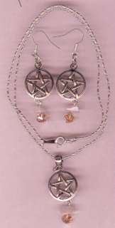 Selenite Crystal Gemstone Necklace & Earring Pentagram