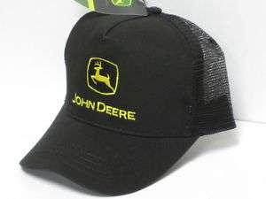 John Deere Trucker Cap Hat Black Mesh Yellow Logo Farmer Farm Worker