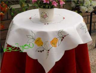 Tulip Flowers Embroidered square white Table Cloth TOPPER