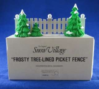 Dept 56 Snow Village Metal Accessories Frosty Tree Lined Picket Fence