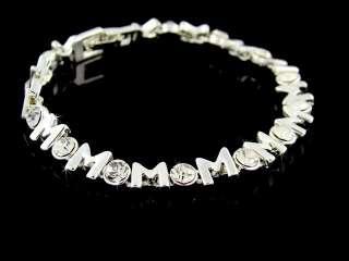 YELLOW GOLD Tone MOM Tennis Bracelet CZ Stones Ladies Womens 7 1/2
