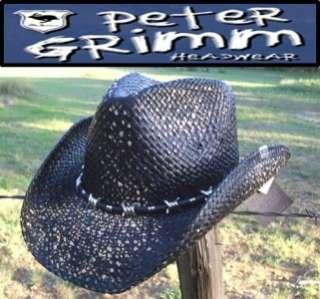 Grimm SAMBORA Rock n Roll Rock Star Straw Western Cowboy Hat Black NWT